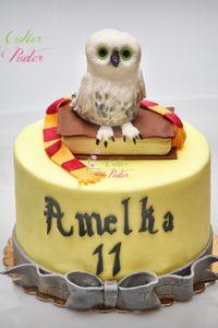 tort urodzinowy – urodziny dziecka – minsk mazowiecki – figurka sowy – figurka ksiazka – harry potter – hogwart – tort dla dziewczynki – tort dla chlopca