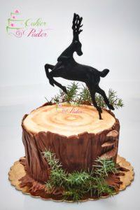 tort rocznicowy – tort na rocznicę – tort na urodziny – minsk mazowiecki – tort 3d – tort pien – tort w ksztalcie pnia – figurka jelenia – figurka 3d – ozodby z jalowca – jalowiec