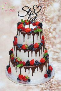 tort urodzinowy – tort na urodziny – mińsk mazowiecki – ganesh – beza szwajcarska – drip – drip cake – topper – sto lat – swieze owoce