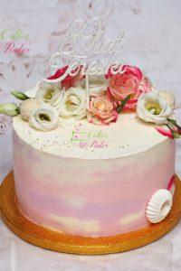 tort urodzinowy – tort na urodziny – mińsk mazowiecki – masa cukrowa – topper – tort zacierany – żywe kwiaty