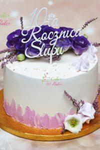 tort na rocznicę – mińsk mazowiecki – masa cukrowa – biało czerwony – topper – 10 rocznica slubu -tort zacierany – żywe kwiaty- lawenda
