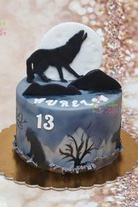 tort na urodziny – urodziny dziecka – minsk mazowiecki – figurka wilka – wilk – księżyc – wyjacy wilk – aerograf – recznie malowany – tort dla dziewczynki – tort dla chlopca