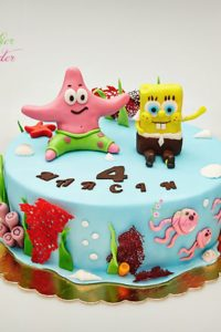 tort na urodziny dziecka – minsk mazowiecki – figurki 3d – recznie wykonane figurki – figurka sponge bob – dekoracje morskie – figurka rafa koralowa – masa cukrowa